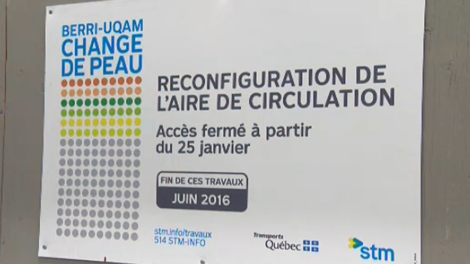 Signs advise STM passengers about construction at Berri-UQAM