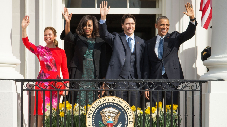 U.S. President Barack Obama and U.S. First Lady Michelle Obama wave with Prime Minister Justin Trudeau, and his wife Sophie Gregoire Trudeau, on the Truman Balcony during an arrival ceremony on the South Lawn of the White House in Washington, Thursday, March 10, 2016. (AP / Andrew Harnik)