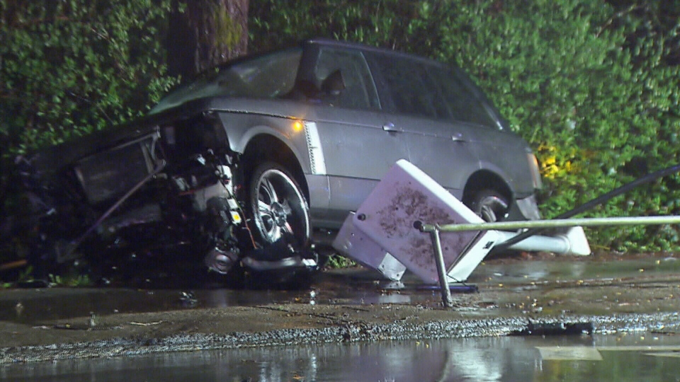 A 25-year-old woman was killed instantly after her vehicle was struck by a speeding Range Rover in Burnaby on March 9, 2016. (CTV)