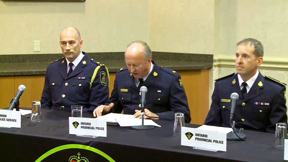 Ontario police officials announce the arrest of 10 people in connection to an illegal firearm smuggling operation, in Windsor, Ont., Thursday, March 10, 2016.