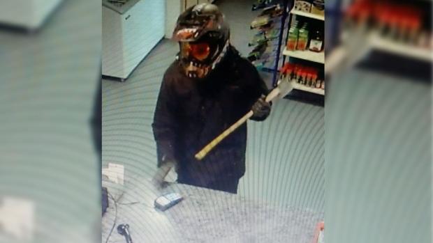 Axe-wielding robbery suspect