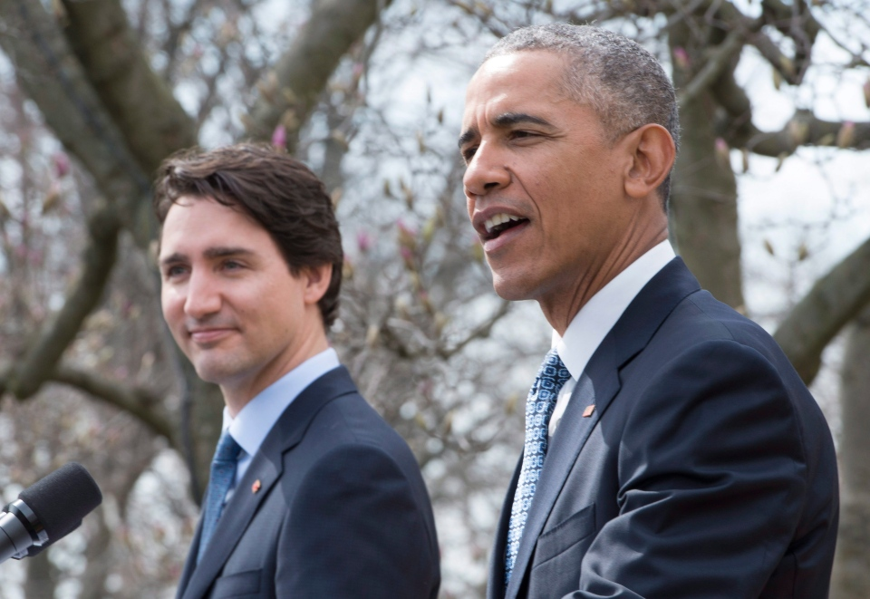 Prime Minister Justin Trudeau (left) and U.S. President Barack Obama hold a joint news conference in the Rose Garden at the White House in Washington, D.C. on Thursday, March 10, 2016. (THE CANADIAN PRESS / Paul Chiasson)