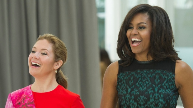 Michelle Obama and Sophie Gregoire Trudeau