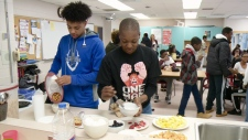 Students at Lester B. Pearson enjoy breakfast.