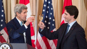 Prime Minister Justin Trudeau and U.S. Secretary of State John Kerry toast at a luncheon at the State Department in Washington, D.C. on Thursday, March 10, 2016. THE CANADIAN PRESS/Paul Chiasson