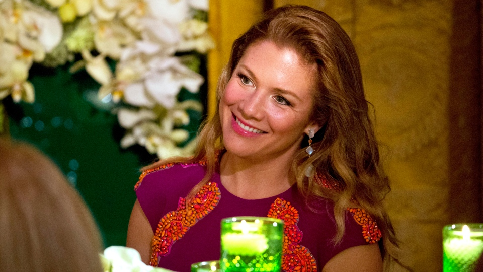Sophie Gregoire Trudeau listens to President Barack Obama toast her husband, Canadian Prime Minister Justin Trudeau, during a State Dinner in the East Room of the White House in Washington, Thursday, March 10, 2016. (AP Photo/Jacquelyn Martin)
