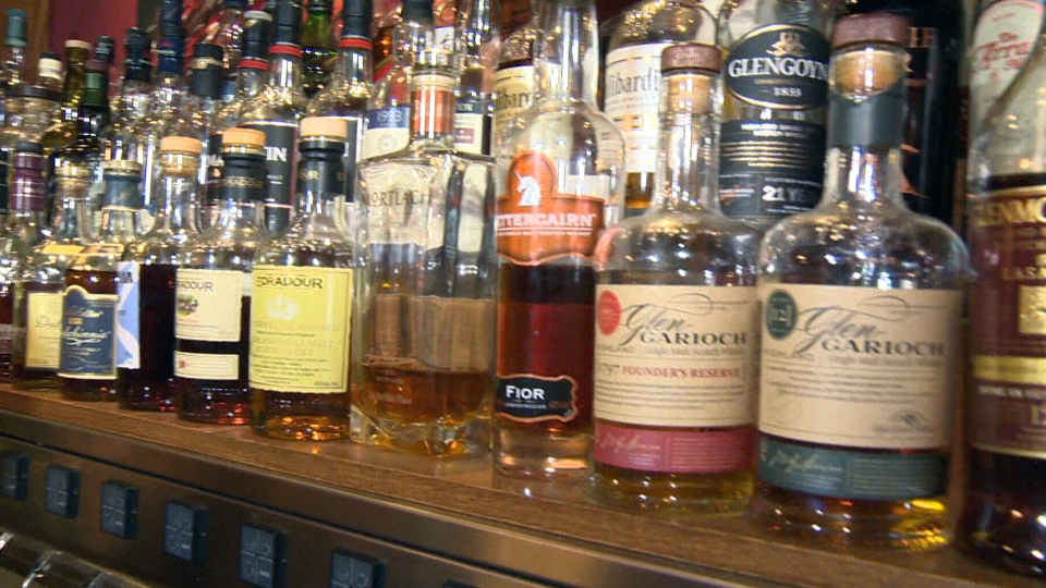 Whiskies are shown at a bar in this file photo.