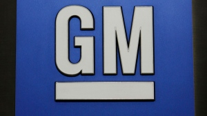 In this Jan. 25, 2010 file photo, a General Motors Co. logo is shown during a news conference in Detroit. (AP / Paul Sancya, File)