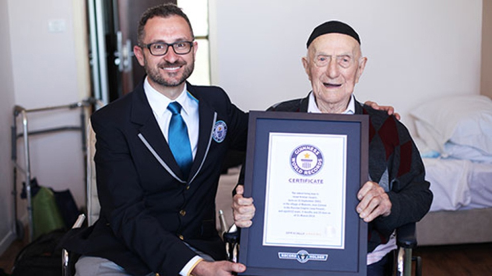 Israel Kristal, right. (GuinnessWorldRecords.com)