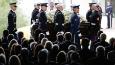 The casket carrying Nancy Reagan arrives