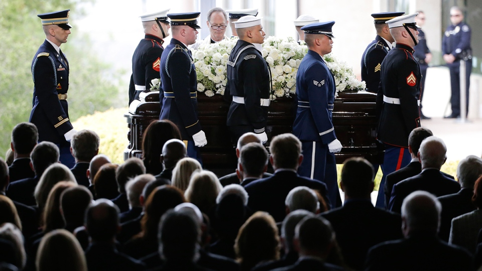 The casket carrying Nancy Reagan arrives for the funeral service at the Ronald Reagan Presidential Library, in Simi Valley, Calif., Friday, March 11, 2016. (AP / Jae C. Hong)