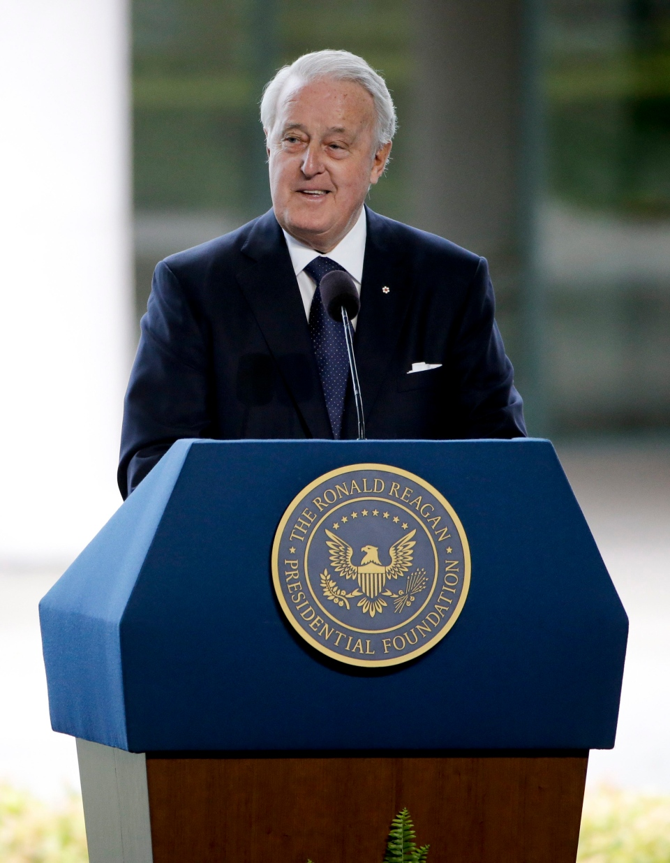 Former Canadian Prime Minister Brian Mulroney speaks during the funeral service for Nancy Reagan at the Ronald Reagan Presidential Library, Friday, March 11, 2016 in Simi Valley, Calif. (AP / Jae C. Hong)