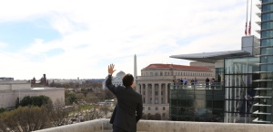 Prime Minister Justin Trudeau waves to onlookers in Washington, D.C., in March, 2016.