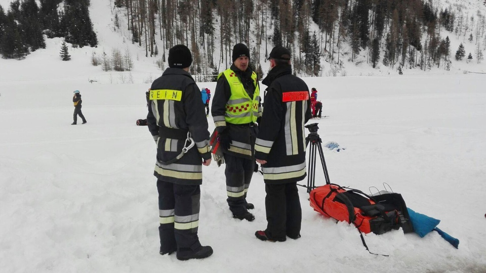 Rescuers prepare to board helicopters in Valle Aurina, in the Italian Alps, in order to reach the spot in Monte Nevoso where six backcountry skiers have died in an avalanche Saturday, March 12, 2016. The dead were in a group of backcountry excursionists who climb above tree line to the mountain crest and then ski down. (ANSA via AP Photo)