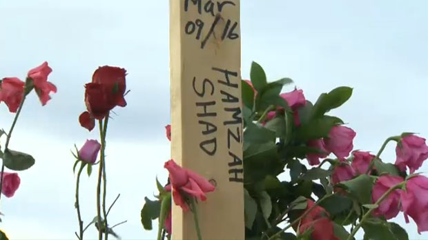 Hamzah Shad's burial marker at the Muslim Cemetery near Cochrane. Shots rang out following the funeral service for the 21-year-old.