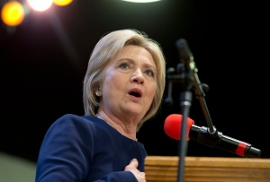 Democratic presidential candidate Hillary Clinton speaks during service at Mount Zion Fellowship Church in Highland Hills, Ohio on March 13, 2016. (Carolyn Kaster / AP Photo)