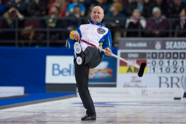 Kevin Koe at Brier curling championships
