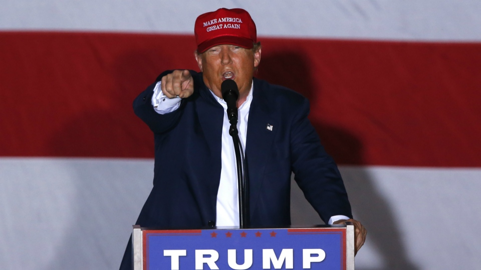 Republican presidential candidate Donald Trump speaks during a campaign rally in Boca Raton, Fla. on Sunday, March 13, 2016. (AP / Paul Sancya)