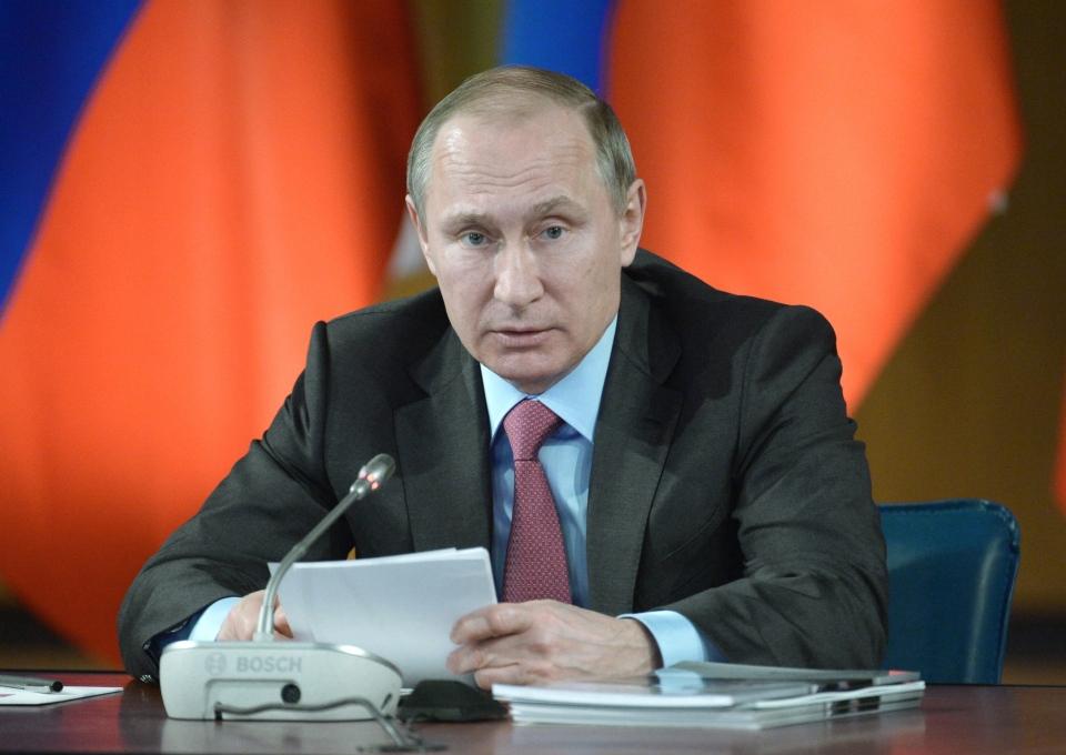 Russian President Vladimir Putin heads a meeting of the State Council on traffic safety issues in Yaroslavl, Russia, Monday, March 14, 2016. (Alexei Nikolsky/Sputnik, Kremlin Pool Photo via AP)