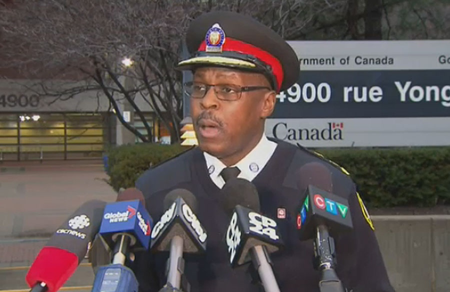 Toronto police chief Mark Saunders speaks at press conference outside a Canadian Forces recruitment centre in Toronto on March 14, 2016.