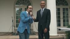 Lin-Manuel Miranda and Obama rapping