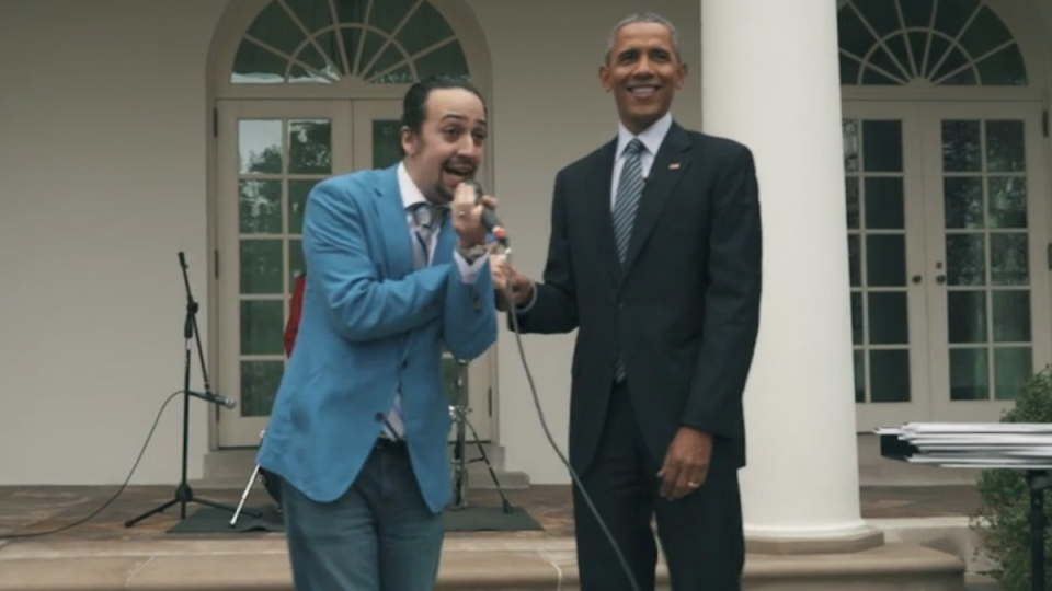 Stage actor Lin-Manuel Miranda raps with U.S. President Barack Obama in White House's rose garden, in Washington, D.C., Monday, March 14, 2016. (Twitter / White House)
