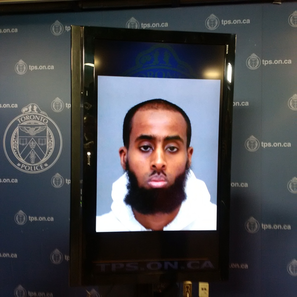 Police have identified the suspect arrested in connection with a stabbing attack at a Toronto military recruitment centre as 27-year-old Ayanle Hassan Ali. (Austin Delaney / CTV News)