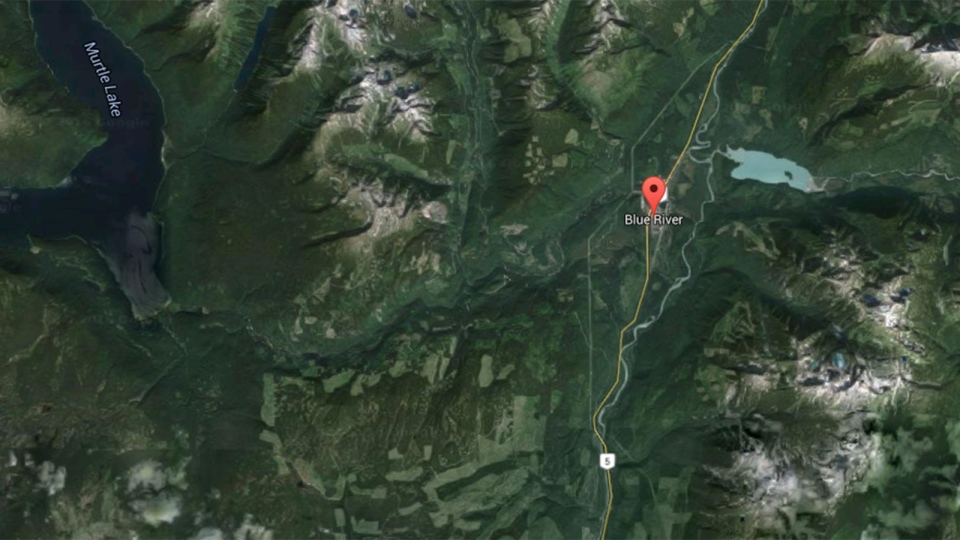 This image from Google Maps shows the location of Blue River, B.C. (Google Maps)