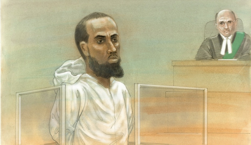 Ayanle Hassan Ali, 27, is seen in this courtroom sketch on Tuesday, March 15, 2016. (John Mantha)