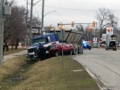 One person was airlifted to hospital following a collision at Erie Street and Lorne Avenue in Stratford on Tuesday, March 15, 2016. (Terry Kelly / CTV Kitchener)