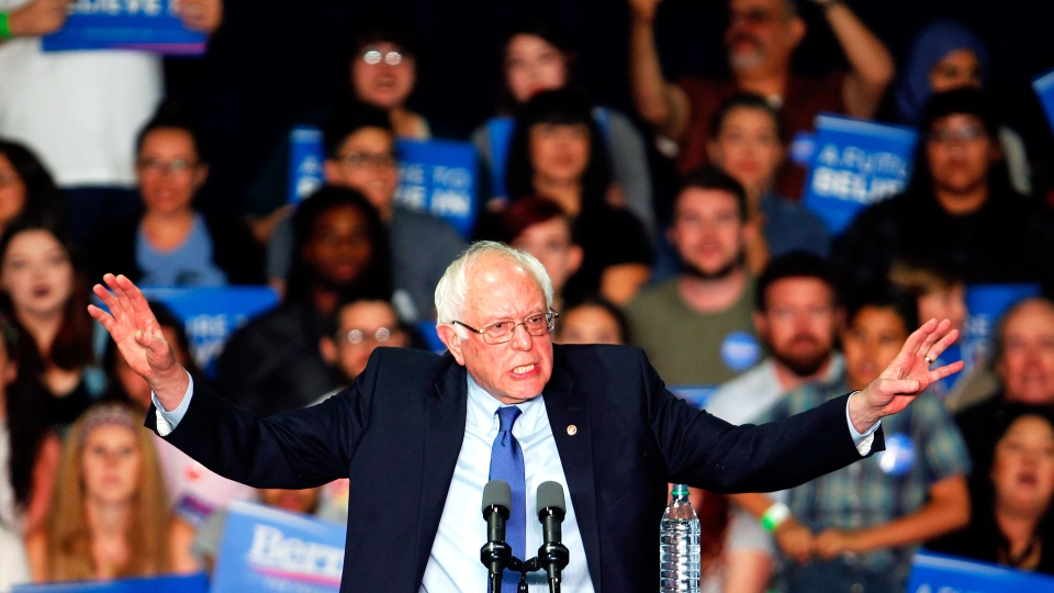Democratic presidential candidate Sen. Bernie Sanders, I-Vt., speaks at a campaign rally at the Phoenix Convention Center in Phoenix, Tuesday, March 15, 2016. (Ricardo Arduengo / AP)
