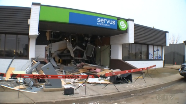 The scene of an ATM theft in Lamont, Alta., March 14, 2016.