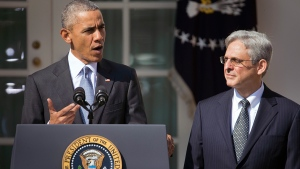 Federal appeals court judge Merrick Garland, right, stands with U.S. President Barack Obama as he is introduced as Obama's nominee for the Supreme Court during an announcement in the Rose Garden of the White House, in Washington, Wednesday, March 16, 2016. (AP / Pablo Martinez Monsivais)