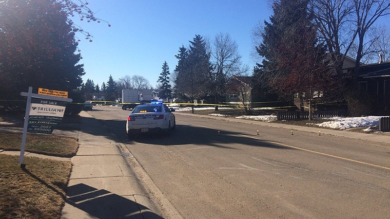 RCMP in Red Deer on the scene of an incident where a man was found in distress, and then later died in hospital on Wednesday, March 16.