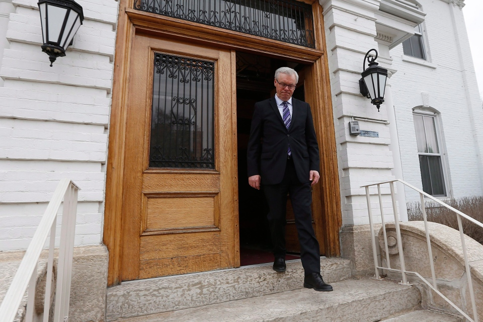NDP leader Greg Selinger leaves the Lieutenant Governor of Manitoba's office after asking her to call the 2016 provincial election in Winnipeg, Wednesday, March 16, 2016. (John Woods / THE CANADIAN PRESS)
