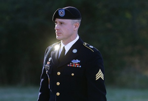 U.S. Army Sgt. Bowe Bergdahl arrives for a pretrial hearing at Fort Bragg, N.C. on Jan. 12, 2016. (AP / Ted Richardson)