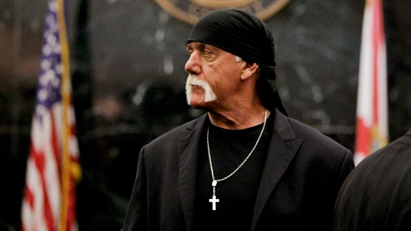 Hulk Hogan arrives before the start of his trial Thursday, March 17, 2016, in St. Petersburg, Fla. (Dirk Shadd/The Tampa Bay Times via AP)