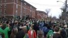The St. Patrick's Day party grows on Ezra Avenue in Waterloo on Thursday, March 17, 2016. (Dan Lauckner / CTV Kitchener)