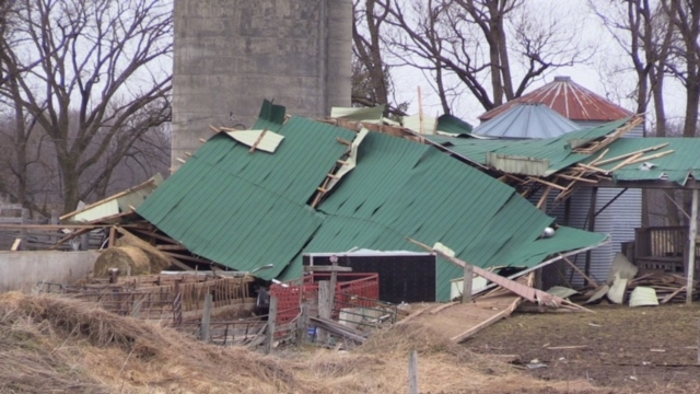 Damage to a barn near Mount Forest, Ont. after a wind storm went through the area.