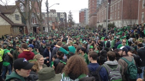 Thousands of people flooded into Ezra Avenue in Waterloo to celebrate St. Patrick's Day on Thursday, March 17, 2016. (Marc Venema / CTV Kitchener)