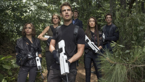 Zoe Kravitz, Shailene Woodley, Theo James, Ansel Elgort, Maggie Q and Miles Teller in a scene from 'The Divergent Series: Allegiant.' (Murray Close / Lionsgate)
