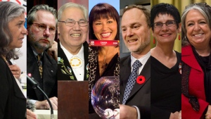 Ratna Omidvar, Peter Harder, Murray Sinclair, Chantal Petitclerc, Andre Pratte, Raymonde Gagne and Frances Lankin appear in this combination photo. (THE CANADIAN PRESS)