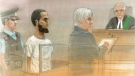 Ayanle Hassan Ali, 27, seen in a courtroom sketch from March 18. (John Mantha)