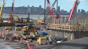 Work on The Champlain Bridge replacement.