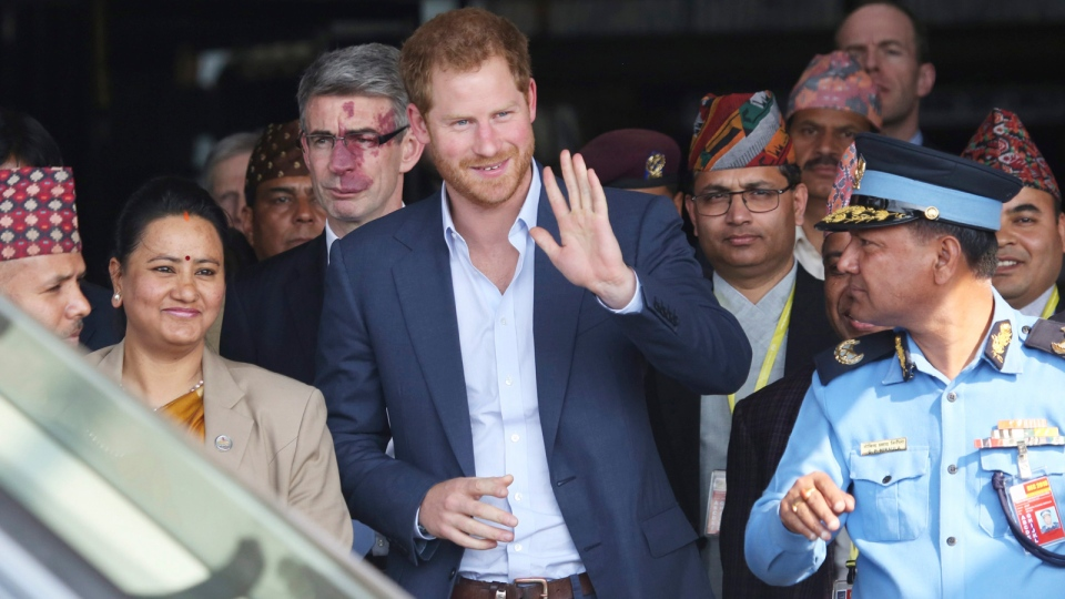 British Prince Harry arrives in Tribhuwan International Airport in Kathmandu, Nepal, Saturday, March 19, 2016. (AP / Niranjan Shrestha)