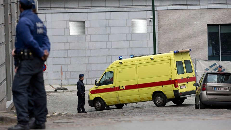 A police convoy thought to be carrying captured fugitive Salah Abdeslam leaves the federal police headquarters in Brussels, Belgium, Saturday, March 19, 2016. (AP / Peter Dejong)