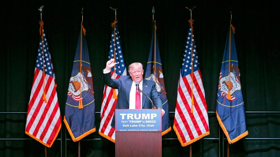 Republican presidential candidate Donald Trump speaks at a campaign rally Friday, March 18, 2016 (AP / John Locher).
