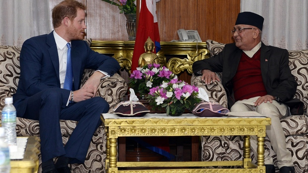 Prince Harry speaks with prime minister of Nepal