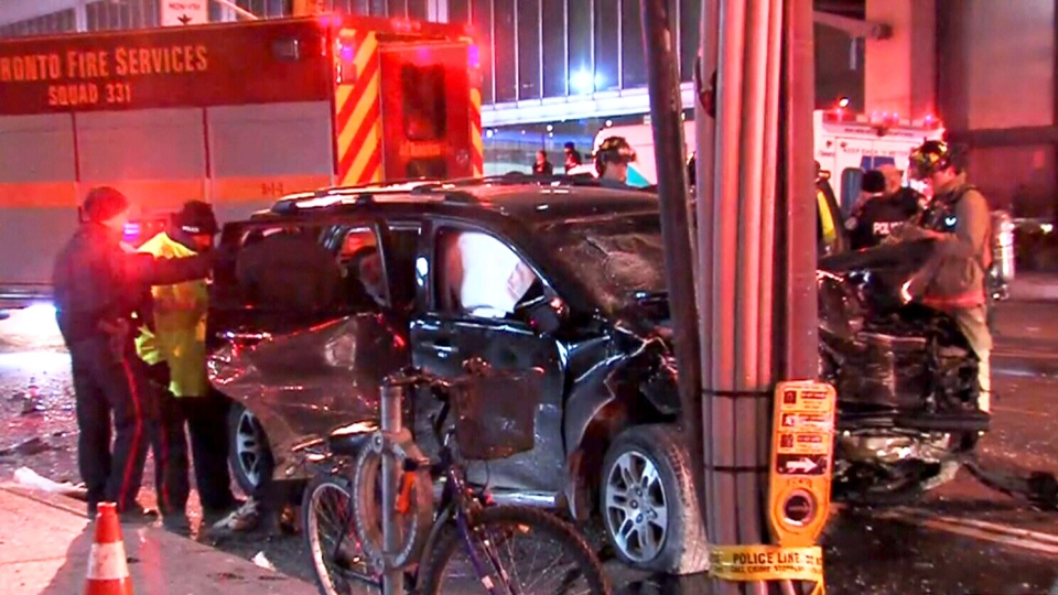 Eight people are in hospital after a two-vehicle crash in the Financial District early Sunday morning. (CTV)