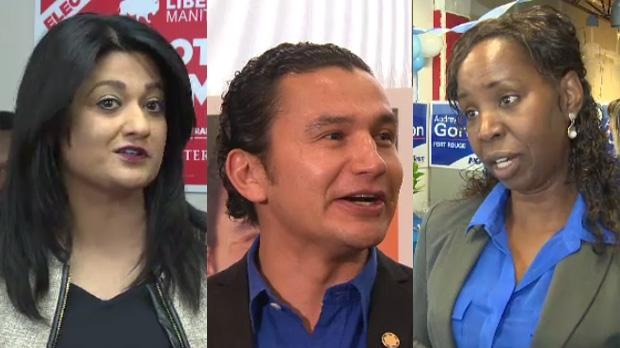 From left to right: Liberal Leader Rana Bokhari, NDP candidate Wab Kinew, and PC candidate Audrey Gordon.